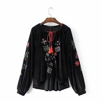 Early Autumn Europe And The United States Fan Fashion Velvet Embroidery Embroidery Lace Blouse Shirt Women