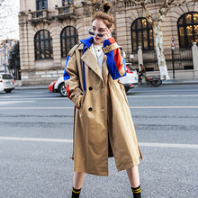 2020 Trench Coat Spring And Autumn Women Causal coat Long Sleeve With Hood Splic