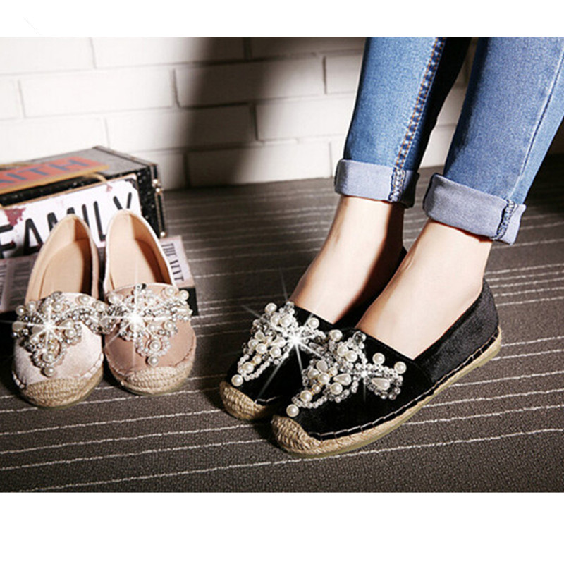 Woman Shoes 2017 Autumn Flats Women loafers Espadrilles Brand Pearl Hemp Bottom Frisherman Shoes Slip On Zapato Mujer Black/Pink цена и фото