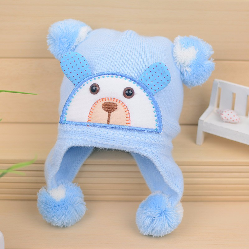 Bear Baby Hat Cotton Infant Caps Warm Ear Boys Beanies Thick Winter Girl Hats Autumn Toddler Cap With Pompom Accessories Newborn (10)
