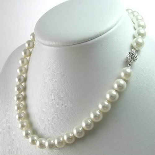 2019 (min order) Hot 8mm White Akoya Shell Pearl Necklace Pearl DIY Jewelry Rope Chain Necklace Pearl Beads Natural Stone 18inch