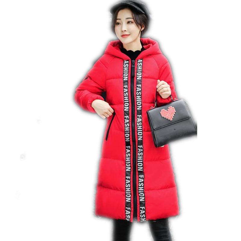 2017 Fashion Print Letter Winter Women Down Cotton Jacket Parka Female Hooded Size M-3XL Medium-Long Slim Outerwear Parkas CQ495 plus size letter print hooded sweatshirt dress