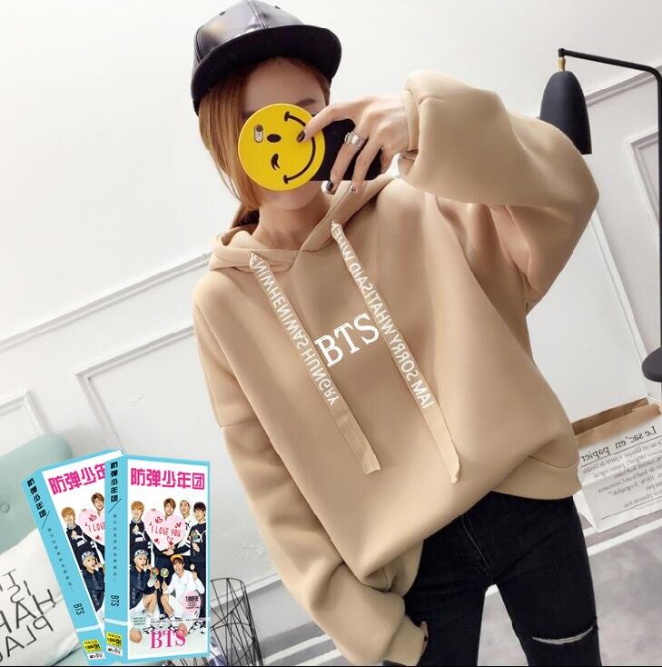 2018 BTS Hoodies Frauen Sweatshirts Drucken mit Kapuze Übergroße Pullover Bts Pullover Sweatshirt Neue Kpop Damen Hoodies Plus Größe