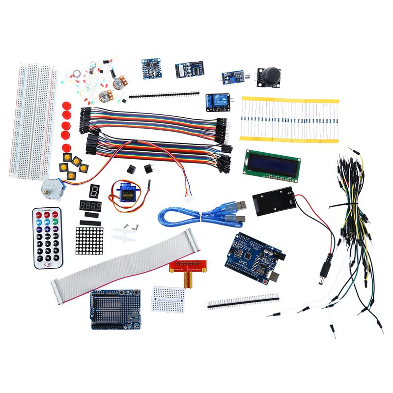 New Ultimate UNO R3 Starter Kit for Arduino 1602LCD Servo Motor RTC doit uno starter kit for smart car chassis with arduino uno r3 board l298n motor drive shield tracking module dupont line