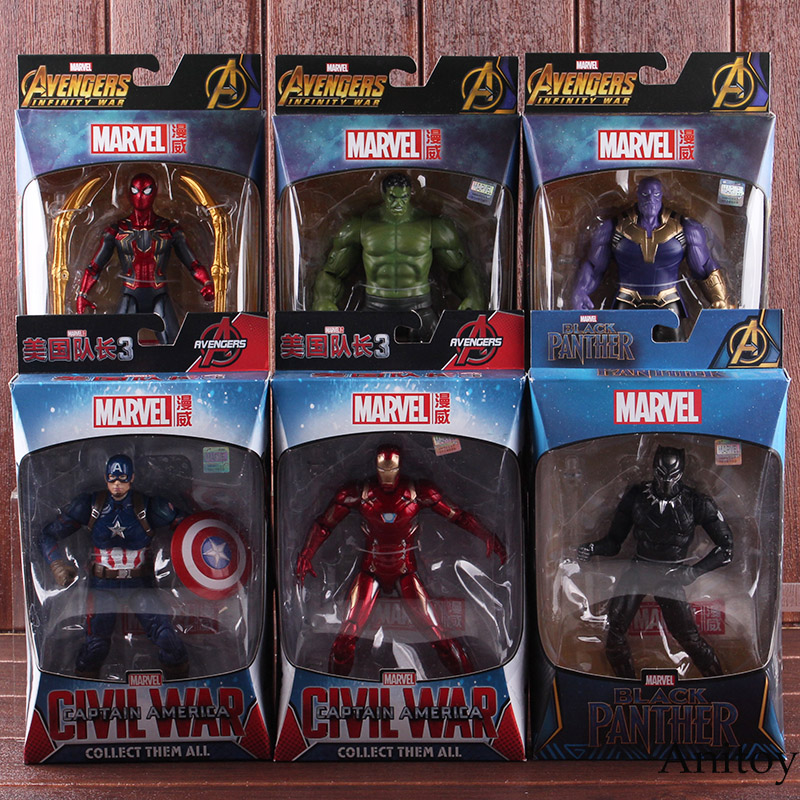 Marvel Avengers Toys Thanos Hulk Spiderman Iron Man Captain America Black Panther Figure Action PVC Collectible Model Toy Dolls marvel avengers statues ironman ant man thanos black panther action figure home decoration gift ant man antman iron man statue