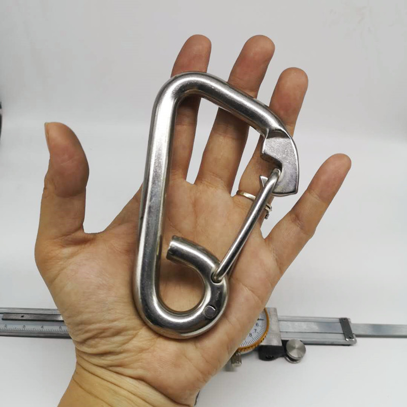 4PCS 120mm Silver 304 Stainless Steel Carabiner Spring Camping Climbing M12 Snap Hook