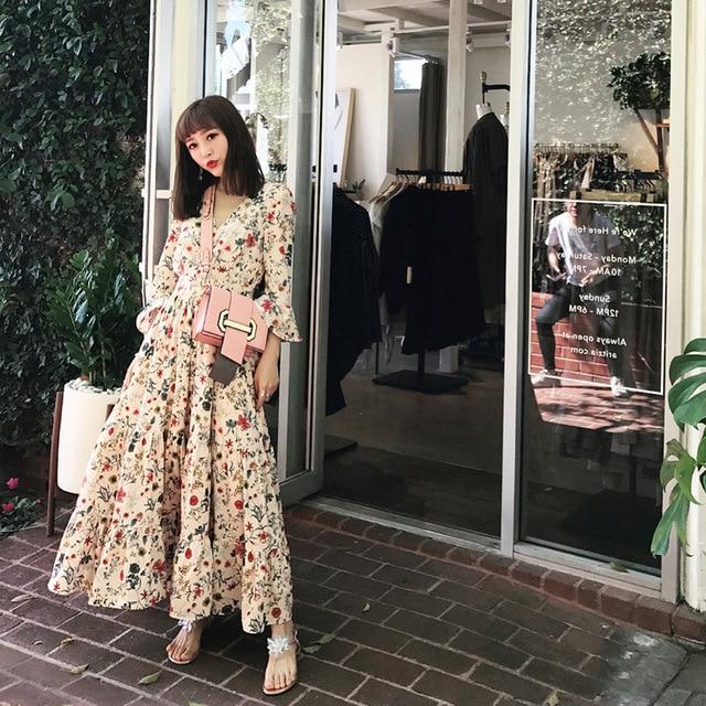 ca5e6fef6 2017 mulheres primavera dress impressão moda v pescoço fechado cintura  elegante chiffon manga comprida vestidos vestidos