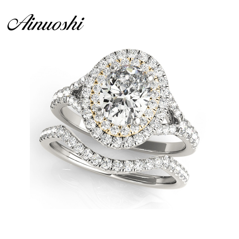 AINUOSHI 925 Sterling Silver Yellow Gold Color Princess Wedding Engagement Ring Sets 0.5ct Oval Cut Anniversary Halo Ring Sets цена 2017