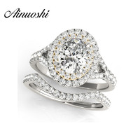 AINUOSHI 925 Sterling Silver Yellow Gold Color Princess Wedding Engagement Ring Sets 0.5ct Oval Cut Anniversary Halo Ring Sets