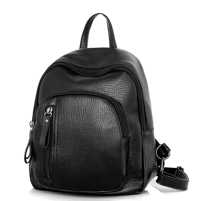 2018 Women Backpack PU Leather Female Casual Students School Bags For Teenagers Girls Pretty Small Black Fashion Backpacks
