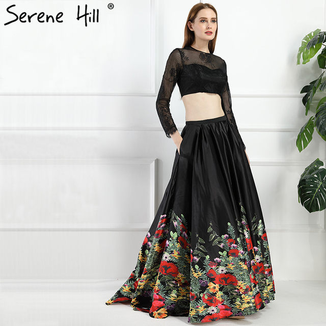 Online Shop 2018 Black Two Pieces Satin Prom Dresses Long Sleeves ...