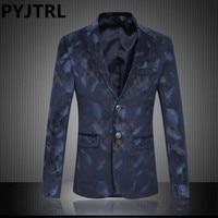 PYJTRL M 5XL 6XL England Style Mens Plus Size Fashion Print Banquet Wedding Singer Suits Jacket