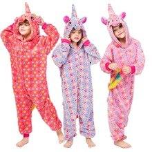 Купить с кэшбэком Kids Pajamas for Boys Girls Kigumuri Unicorn Onesies Flannel Warm Kids Pyjamas 2019 New Cartoon Animal Cosplay  3-10 Years