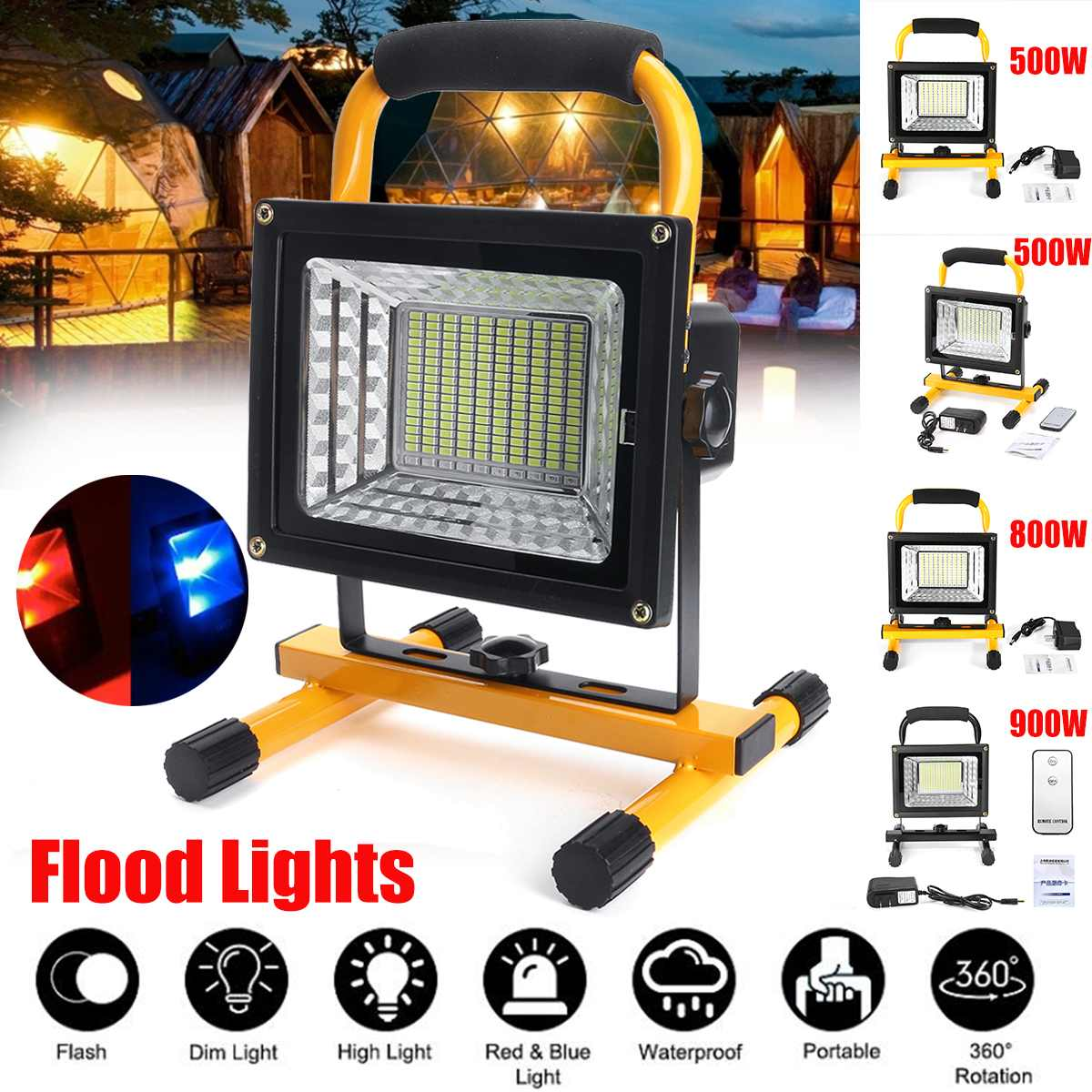 500 800 900W LED Portable Rechargeable Floodlight Waterproof Spotlight Battery Powered Searchlight Outdoor Work Lamp Camping