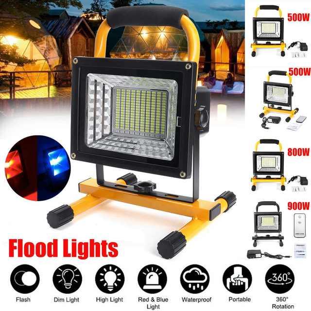 500/800/900W LED Portable Rechargeable projecteur étanche projecteur à piles lampe de travail en plein air Camping