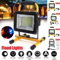 500/800/900W LED Portable Rechargeable Floodlight Waterproof Spotlight Battery Powered Searchlight Outdoor Work Lamp Camping
