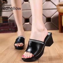Summer Woman Shoes Platform Sandals Wedge Beach Flip Flops High Heel Slippers For Women Fashion Slides Crystal Shoes Size 34-43 women sandals summer new leather shoes woman high heels open toe strap flip flops platform wedge heel plus size shoes female do