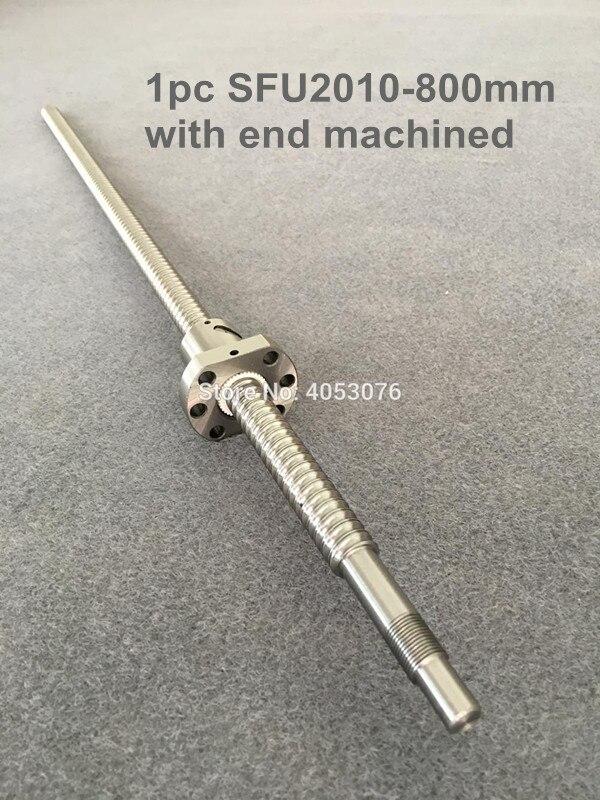 Ballscrew SFU2010 -800mm ball screw with flange single ball nut BK/BF15 end machined CNC parts sfu2004 800mm ball screw set 1 pc ball screw rm2004 800mm 1pc sfu2004 ball nut cnc part standard end machined for bk bf15