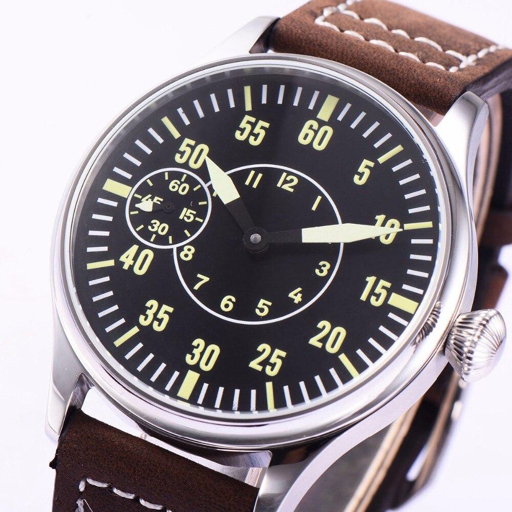 Image 4 - Sterile 44mm Luminous 6497 Hand Winding ST3600 Movement Manual  Machinery Watch men Sapphire Glass 316L SS mechanical  wristwatcheMechanical Watches