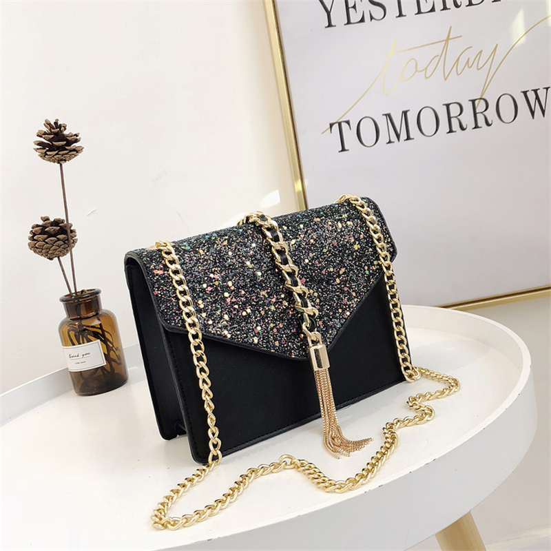 2018 new fashion single shoulder chain slung women's bag fashion sequins tassel envelope bag casual small square bag bag female 2018 new fashion sequins convenient bread bag chain small square bag shoulder slung dinner bag