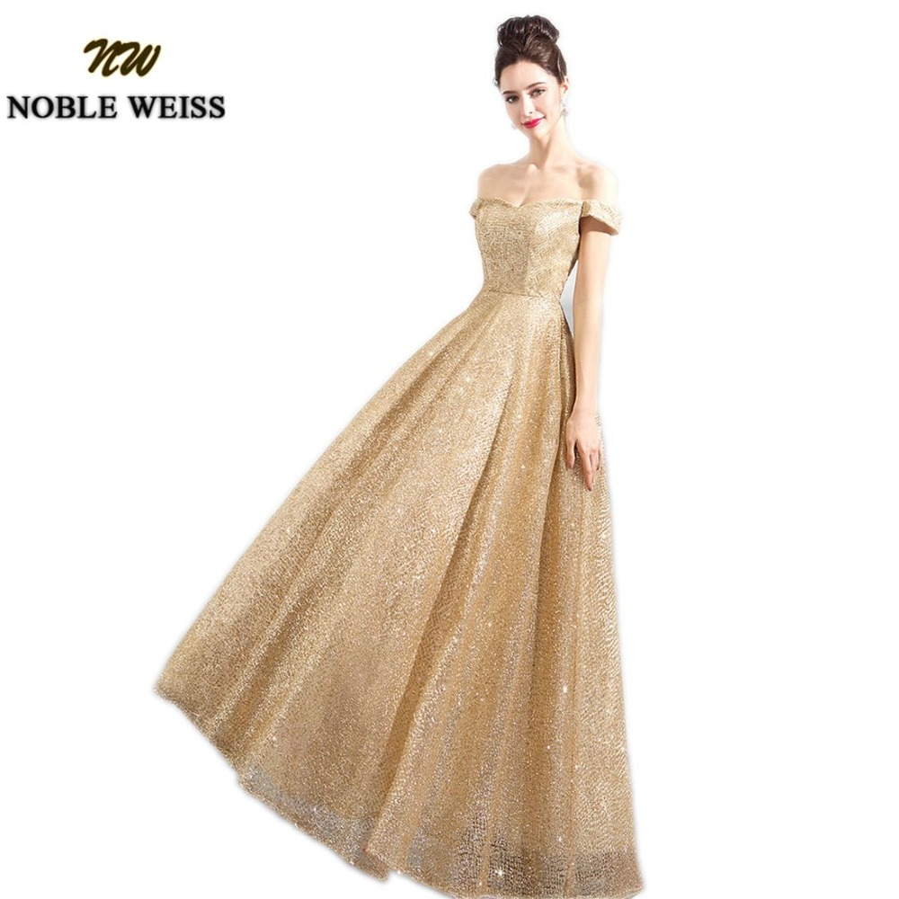NOBLE WEISS Gold Champagne Prom Dresses Bling Bling A-Line Floor ...