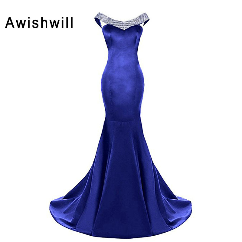 Customized Robe de Soiree Longue In Royal Blue Cap Sleeve Satin Mermaid Evening Dresses for Women Elegant Formal Party Dress