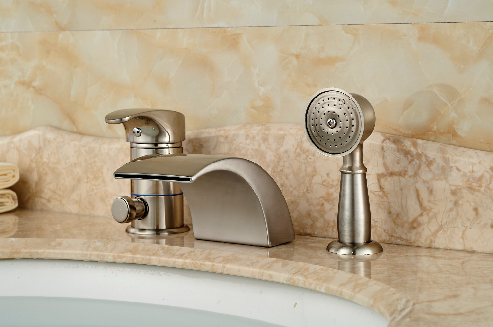 Brushed Nickel Waterfall Roman Bathtub Mixer Faucet Set with Hand ...