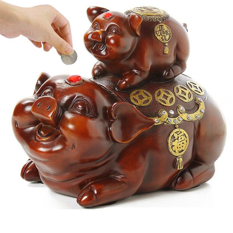 Tirelire cochon pomme Figurine tirelire animaux bébé économiser de l'argent pièce Art Sculpture résine Art & artisanat décoration de la maison R518