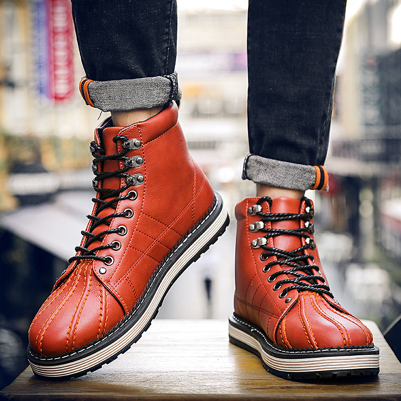 Autumn Winter Men's Leather Boots Fashion Male High-Cut Shoes Casual Warm Lace-up Motorcycle Martin Boots for Men цены онлайн