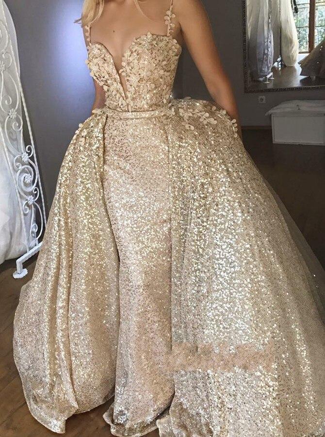 Abendkleider nouvelle fabuleuse robe de soirée Champagne bretelles Spaghetti robe de bal Sequin Train détachable