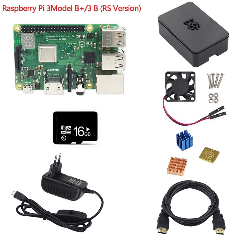 7 pièces Kit Combo Raspberry Pi 3 modèle B +/3B carte mère, carte MicroSD 16 go et adaptateur 5 V 2.5A, dissipateurs, boîtier noir et câble HDMI - 3