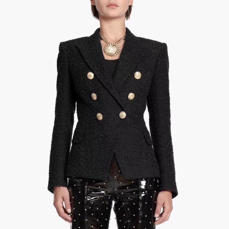 HIGH STREET Newest Runway 2020 Designer Blazer Women's Lion Metal Buttons Cotton Blend Tweed Blazer Coat
