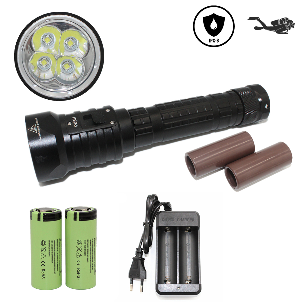 Scuba diving flashlight DX4S Underwater hunting torch waterproof dive lamp 4x Cree XM-L2 white light 18650/26650 LED torch scuba diving flashlight dx4s underwater hunting torch waterproof dive lamp 4x cree xm l2 white light 18650 26650 led torch