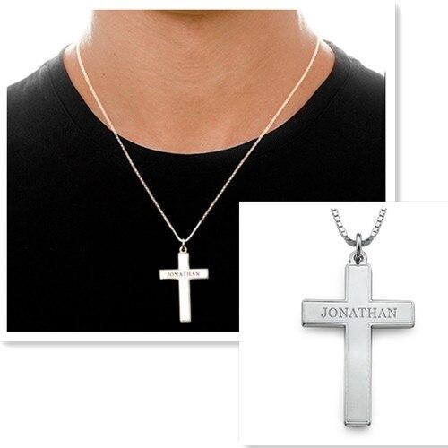 a62f1ceb857 Plata al por mayor nombre grabado Cruz Collar para hombres mano sello  inicial pendiente personalizado padre regalo de joyería personalizada en  Collares de ...