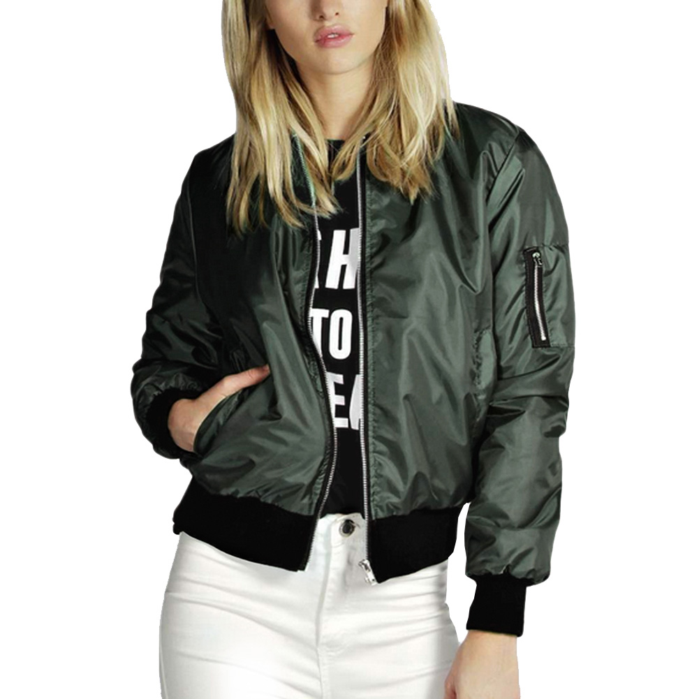 2017 Autumn Fashion Bomber Jacket Women Long Sleeve Basic Coats Casual Thin Slim Outerwear Short  Pilot Bomber Jackets