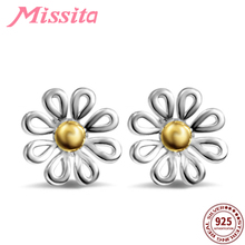 MISSITA 100% 925 Sterling Silver Daisy Flower Earrings For Women Jewelry Brand Wedding Stud HOT SELL Gift