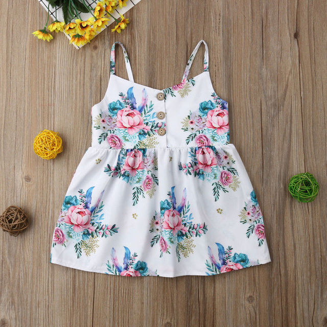 Spring New Fashion Kids Baby Girls Flower Princess Sleeveless Dress Sundress Summer Clothes 2