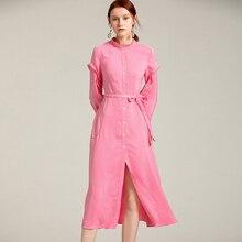 0d3bb958821 Russische Stil Elegante Frauen Sommer Mode Süße Rosa Kleid Lange Ärmel  Einfarbig Rüschen Qualität Casual Kleider