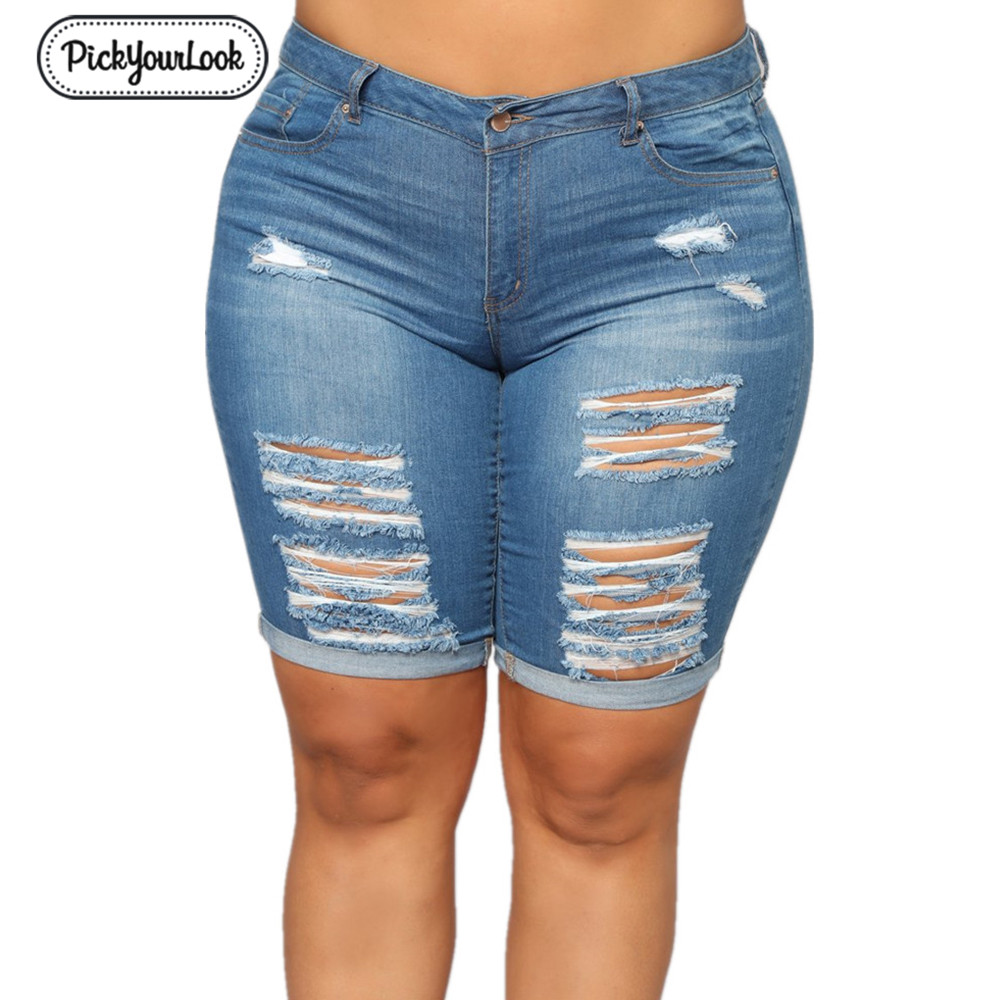 Hollow Out Jeans Denim Shorts Women Plus Size Denim Knee Length Jeans Fashion Hole Ladies Trousers Skinny Jeans 5XL Femme Mujer