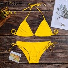 2019 Push Up Micro Bikini Set Swimwear Women Halter Low Waist Brazilian Thong Solid Swim Suit For Women maillot de bain femme