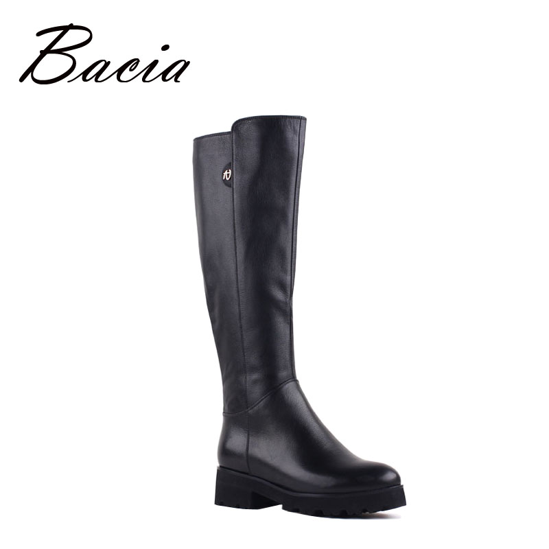 Bacia Genuine Leather Boots Knee-Length Winter Boots For Women Warm Wool Fur Shoes Platform Long Boots Low Heels New 2016 VF002 2015 natural genuine leather boots sexy vintage heels platform warm winter long boots snow knee high knight boots for women