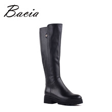 Bacia Genuine Leather Boots Knee-Length Winter Boots For Women Warm Wool Fur Shoes Platform Long Boots Low Heels New 2016 VF002
