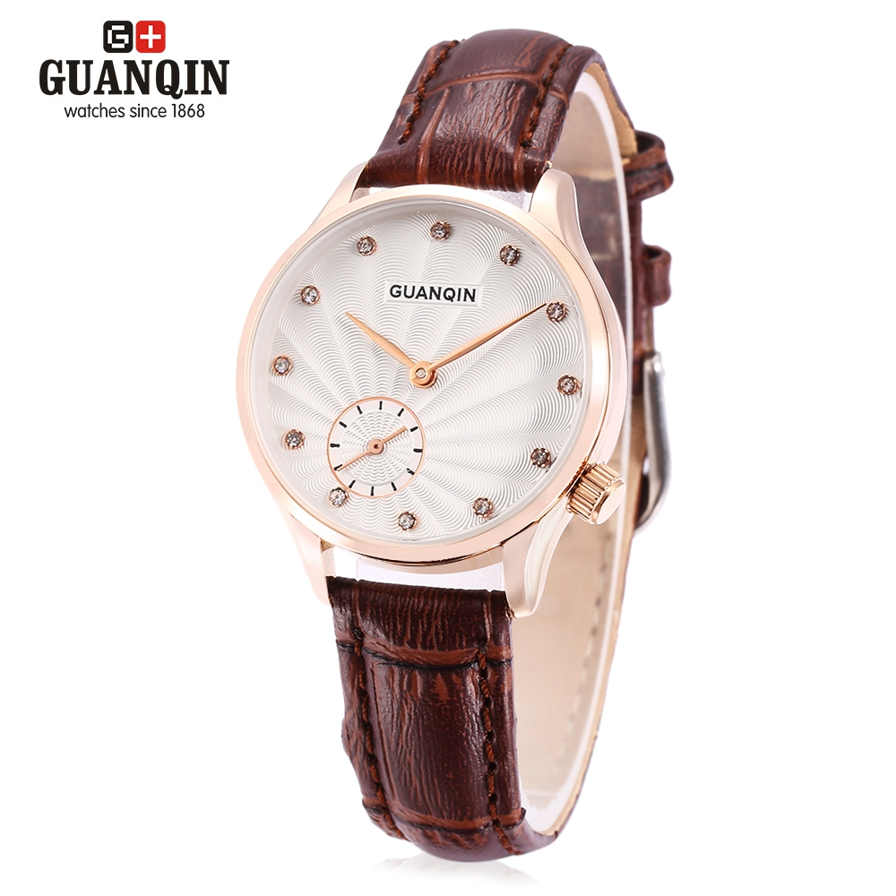 GUANQIN GS19052 Women Quartz Watch Leather Strap Dress Wrist Watch with a Chronograph Sub-dial