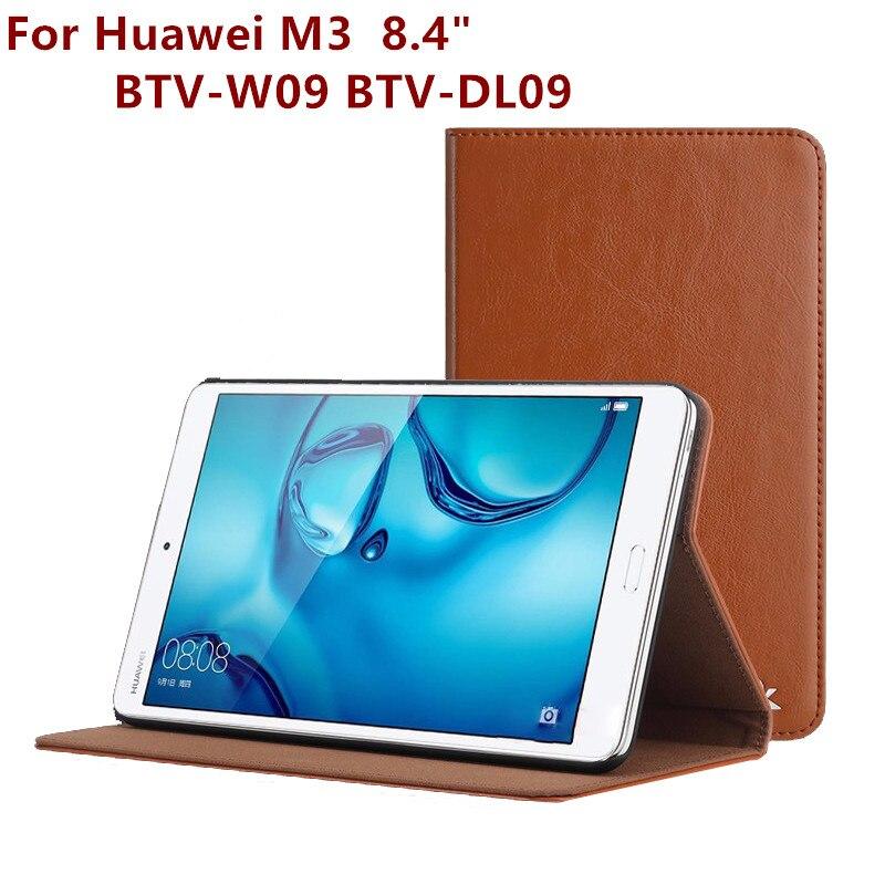Prix pour Mode En Cuir Tablet PC Couverture Pour Huawei Mediapad M3 BTV-W09 BTV-DL09 Stand Cas 8.4 Pouce Écran Protecteur Film Stylo OTG cadeau