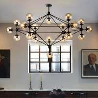 Postmodern DNA magic beans glass black chandelier American LOFT Iron glass ball personalized round Hanging Lamps