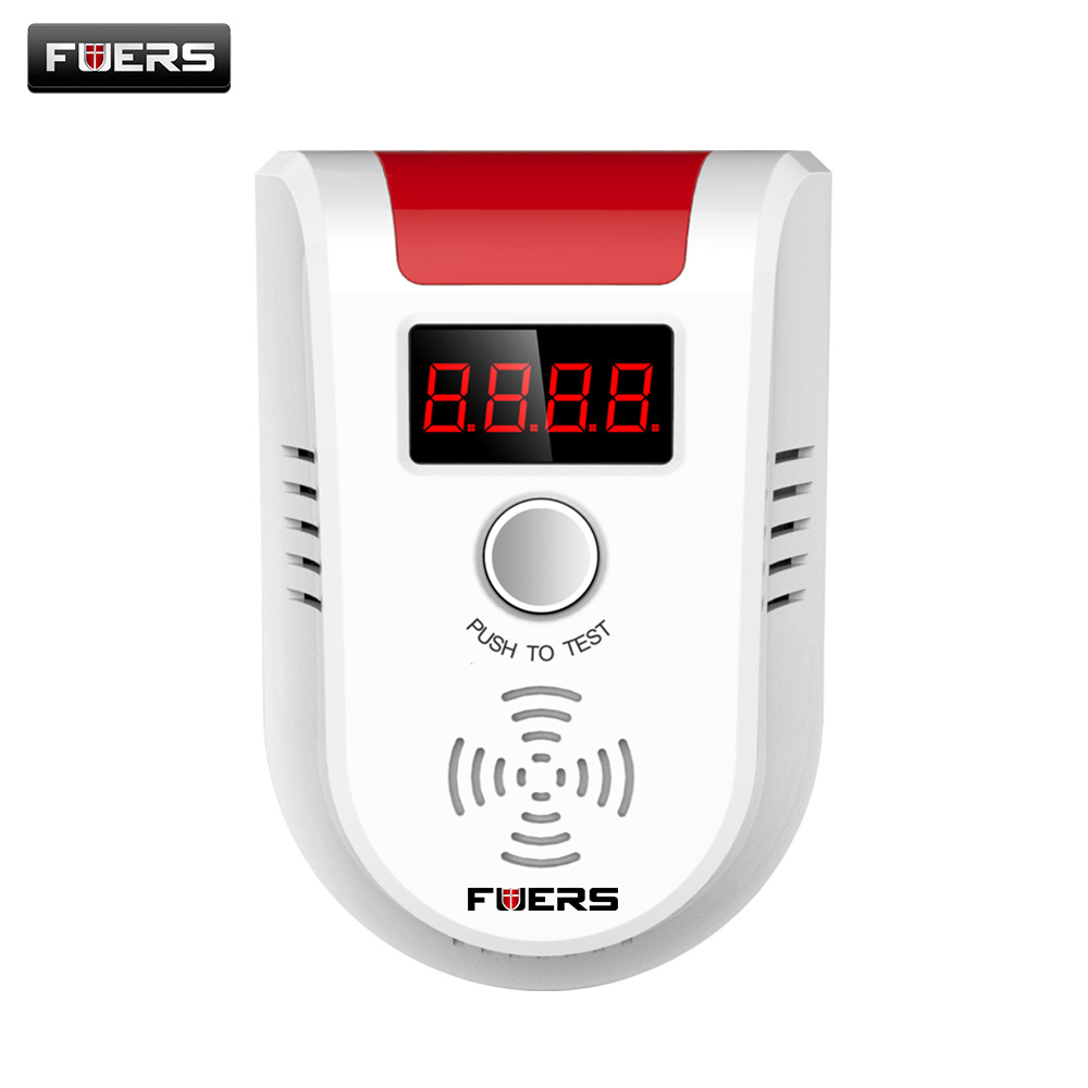 Fuers DC12-24V 433MHz Wireless Network Combustible Gas Detector with Power Cable For G90B Alarm System House Guard flammable gas detector wireless digital led display combustible gas detector smart network alarm for home alarm system