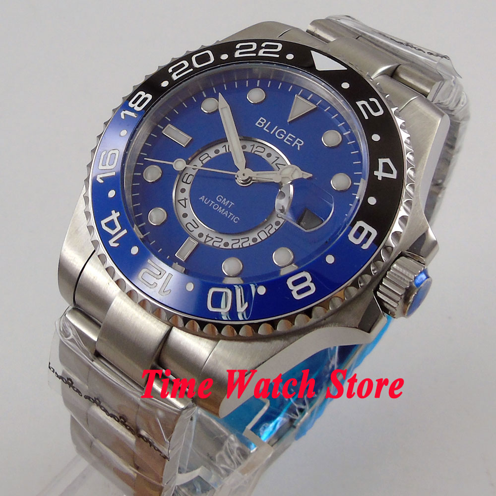 Bliger 43mm blue dial sapphire glass luminous 24 hours GMT Automatic movement Mens watch men 234Bliger 43mm blue dial sapphire glass luminous 24 hours GMT Automatic movement Mens watch men 234