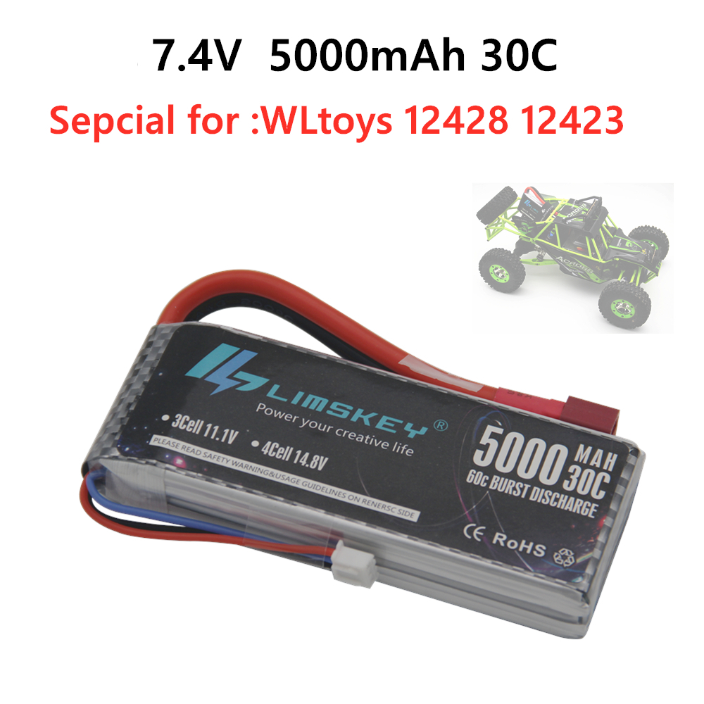 Limskey New Version Good Quality Rc <font><b>Lipo</b></font> Battery 7.4V <font><b>5000mah</b></font> <font><b>2S</b></font> 30C Max 60C for Wltoys 12428 12423 1:12 RC Car Spare parts image