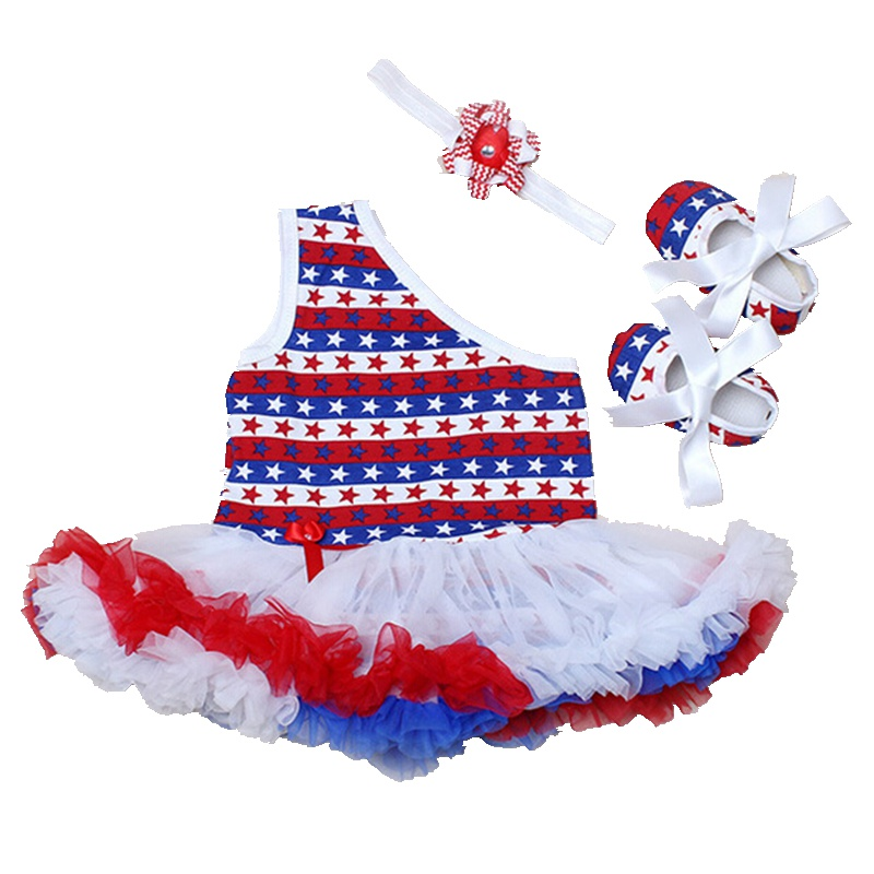 Girls 4th Of July Outfits Baby Girl Tutu Set Bodysuit Lace Dress Headband Crib Shoes 3PCS Newborn Tutu Sets Infant Clothing