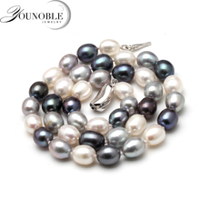 50cm Freshwater Natural Pearl Necklace Women,multi color genuine fine Wedding pearl choker necklaces Jewelry 50cm freshwater natural pearl necklace women multi color genuine fine wedding pearl choker necklaces jewelry